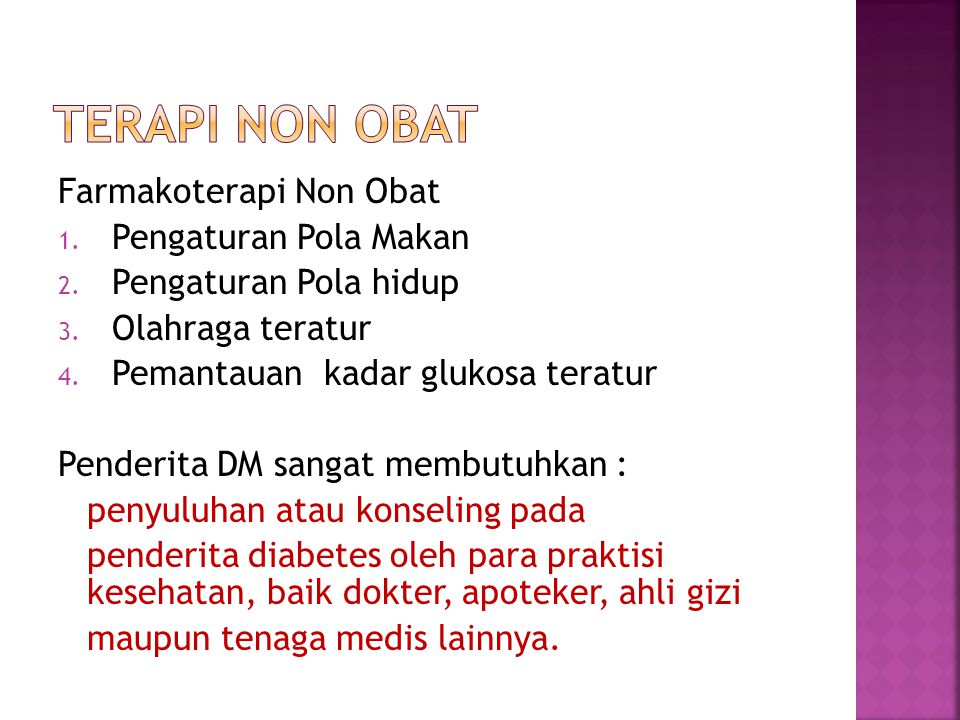 terapi non obat Farmakoterapi Non Obat Pengaturan Pola Makan