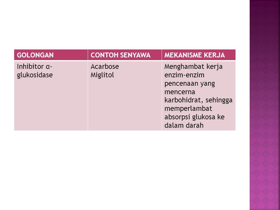 GOLONGAN CONTOH SENYAWA. MEKANISME KERJA. Inhibitor α- glukosidase. Acarbose. Miglitol. Menghambat kerja enzim-enzim.