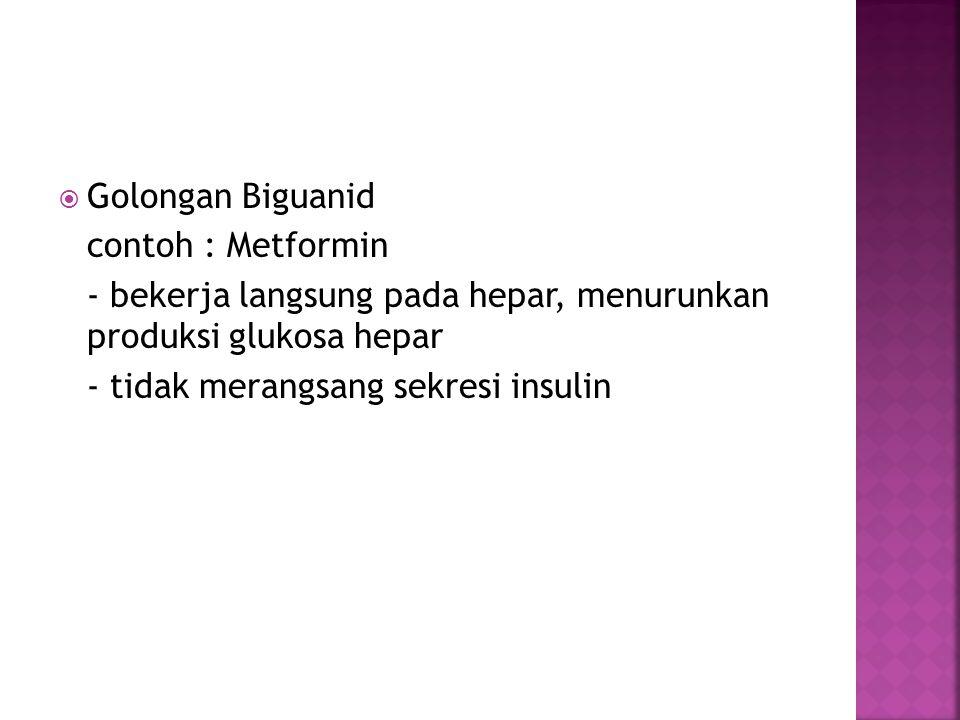 Golongan Biguanid contoh : Metformin. - bekerja langsung pada hepar, menurunkan produksi glukosa hepar.