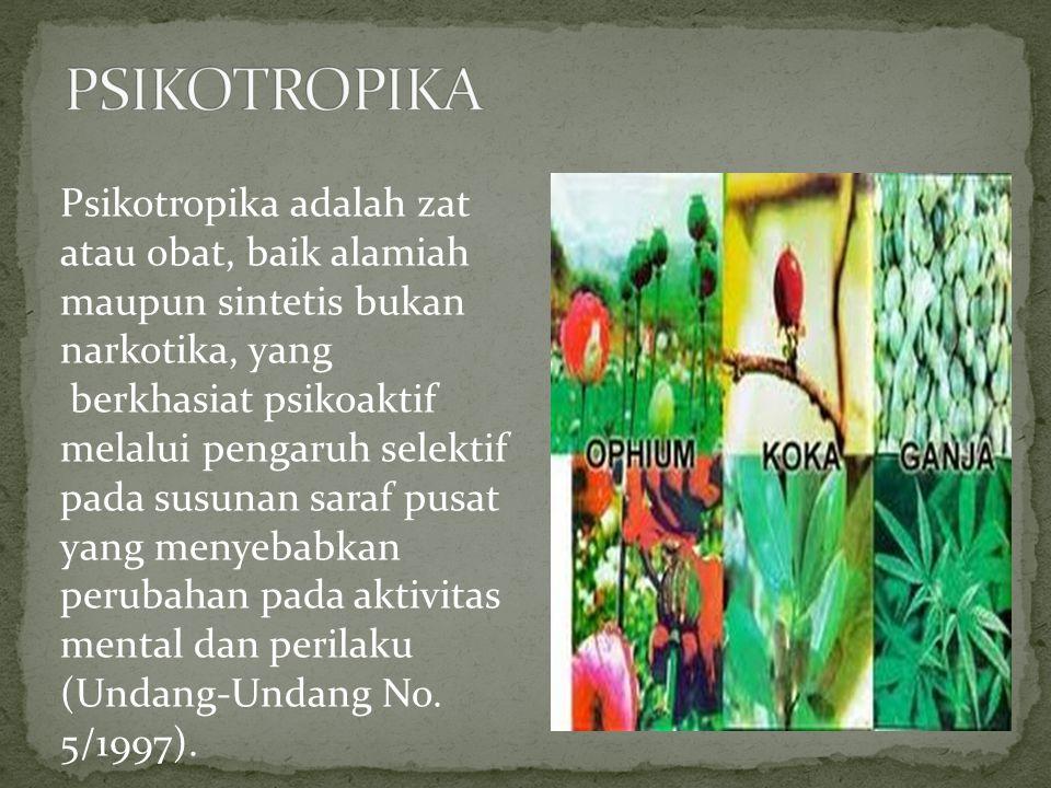 PSIKOTROPIKA Psikotropika adalah zat atau obat, baik alamiah maupun sintetis bukan narkotika, yang.