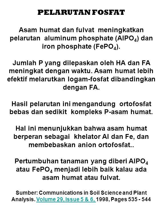 PELARUTAN FOSFAT Asam humat dan fulvat meningkatkan pelarutan aluminum phosphate (AlPO4) dan iron phosphate (FePO4).