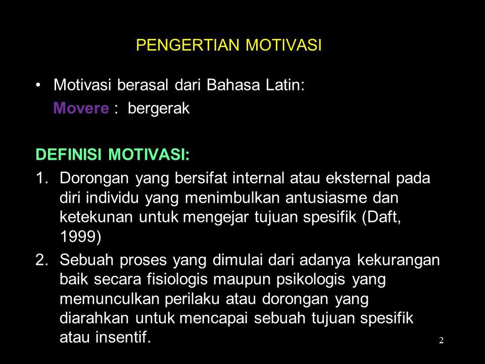 PENGERTIAN MOTIVASI Motivasi berasal dari Bahasa Latin: Movere : bergerak. DEFINISI MOTIVASI: