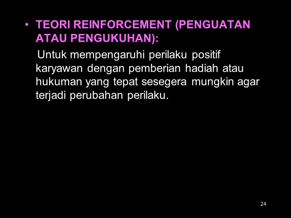 TEORI REINFORCEMENT (PENGUATAN ATAU PENGUKUHAN):