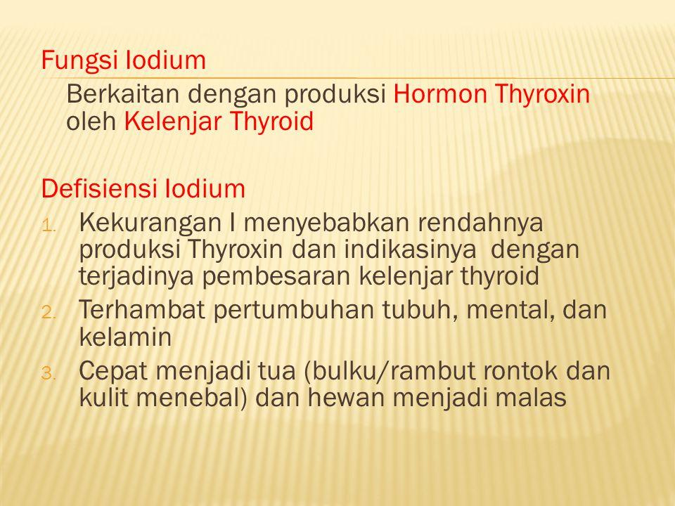 Fungsi Iodium Berkaitan dengan produksi Hormon Thyroxin oleh Kelenjar Thyroid. Defisiensi Iodium.