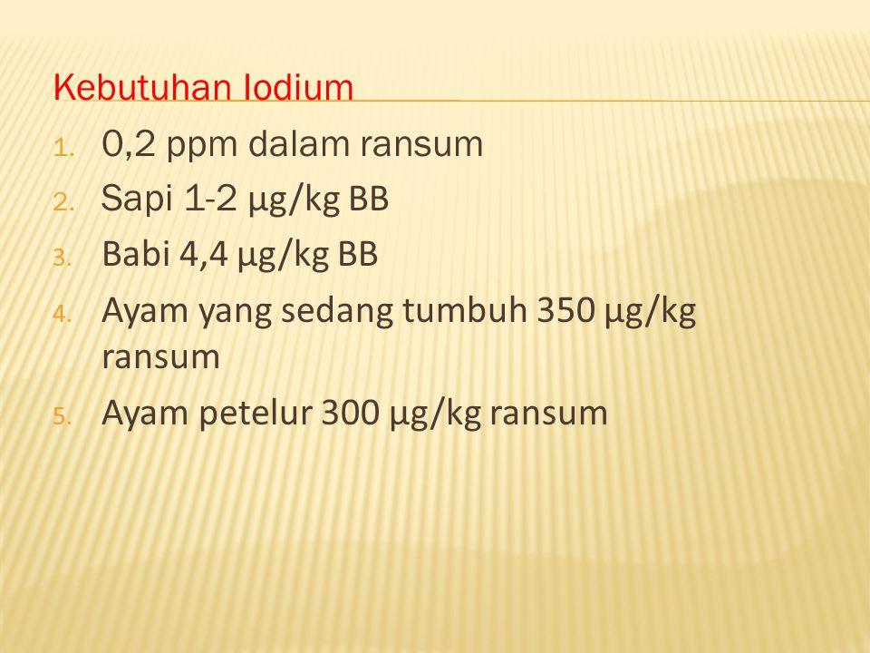 Kebutuhan Iodium 0,2 ppm dalam ransum. Sapi 1-2 μg/kg BB. Babi 4,4 μg/kg BB. Ayam yang sedang tumbuh 350 μg/kg ransum.