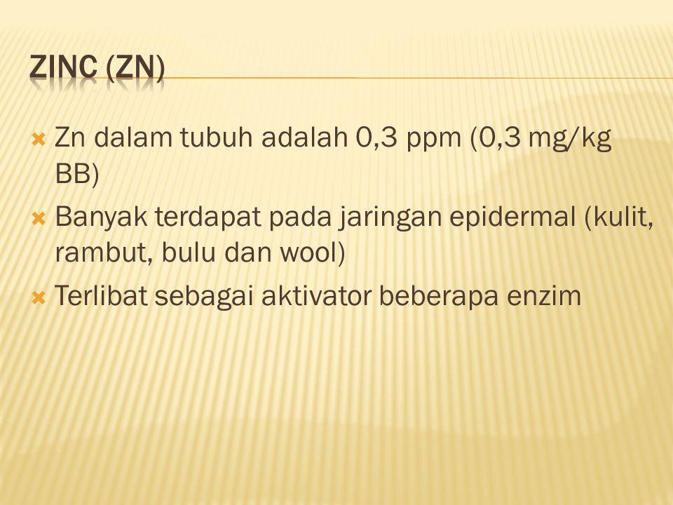 Zinc (Zn) Zn dalam tubuh adalah 0,3 ppm (0,3 mg/kg BB)