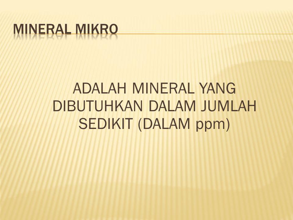 ADALAH MINERAL YANG DIBUTUHKAN DALAM JUMLAH SEDIKIT (DALAM ppm)