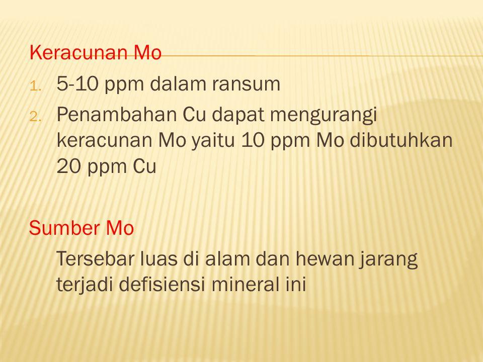 Keracunan Mo 5-10 ppm dalam ransum. Penambahan Cu dapat mengurangi keracunan Mo yaitu 10 ppm Mo dibutuhkan 20 ppm Cu.