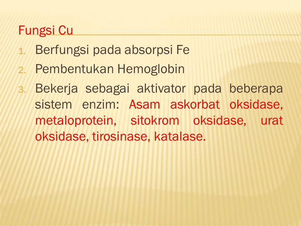 Fungsi Cu Berfungsi pada absorpsi Fe. Pembentukan Hemoglobin.