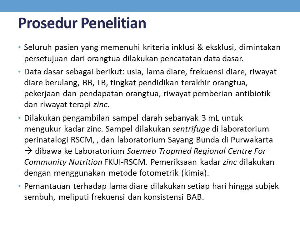 Prosedur Penelitian Seluruh pasien yang memenuhi kriteria inklusi & eksklusi, dimintakan persetujuan dari orangtua dilakukan pencatatan data dasar.