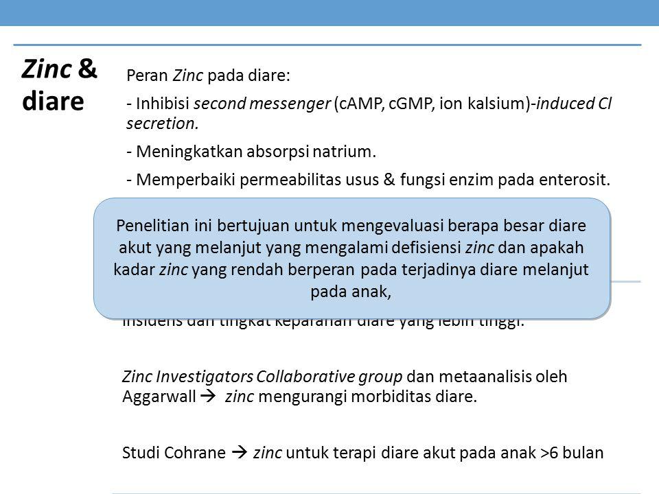 Zinc & diare Peran Zinc pada diare: