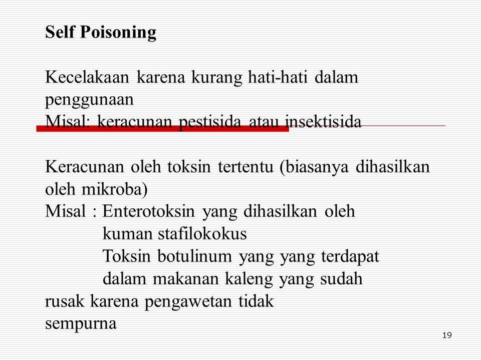 Self Poisoning Kecelakaan karena kurang hati-hati dalam penggunaan. Misal: keracunan pestisida atau insektisida.