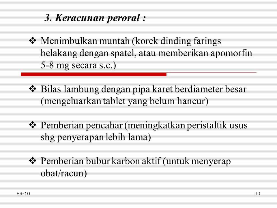 3. Keracunan peroral : Menimbulkan muntah (korek dinding farings belakang dengan spatel, atau memberikan apomorfin 5-8 mg secara s.c.)