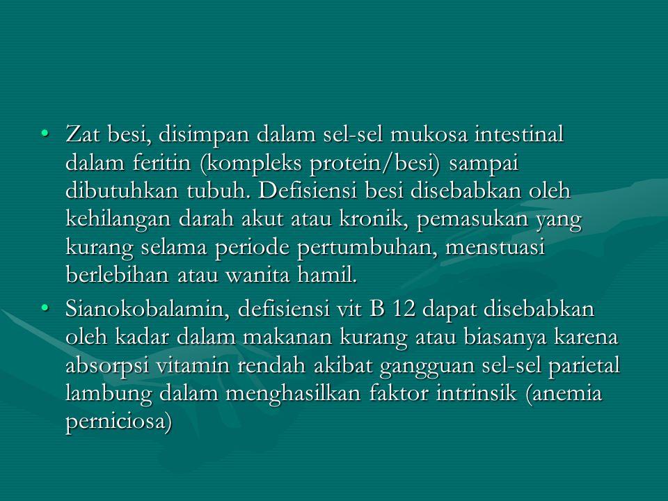 Zat besi, disimpan dalam sel-sel mukosa intestinal dalam feritin (kompleks protein/besi) sampai dibutuhkan tubuh. Defisiensi besi disebabkan oleh kehilangan darah akut atau kronik, pemasukan yang kurang selama periode pertumbuhan, menstuasi berlebihan atau wanita hamil.