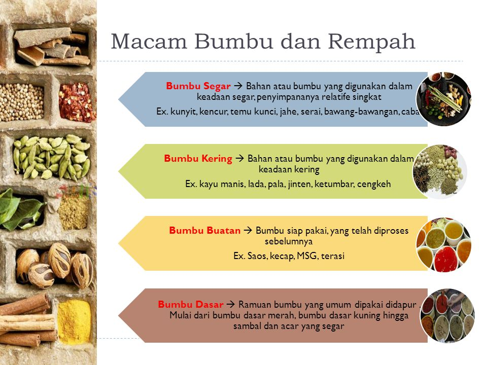 Macam Bumbu dan Rempah Bumbu Segar  Bahan atau bumbu yang digunakan dalam keadaan segar, penyimpananya relatife singkat.