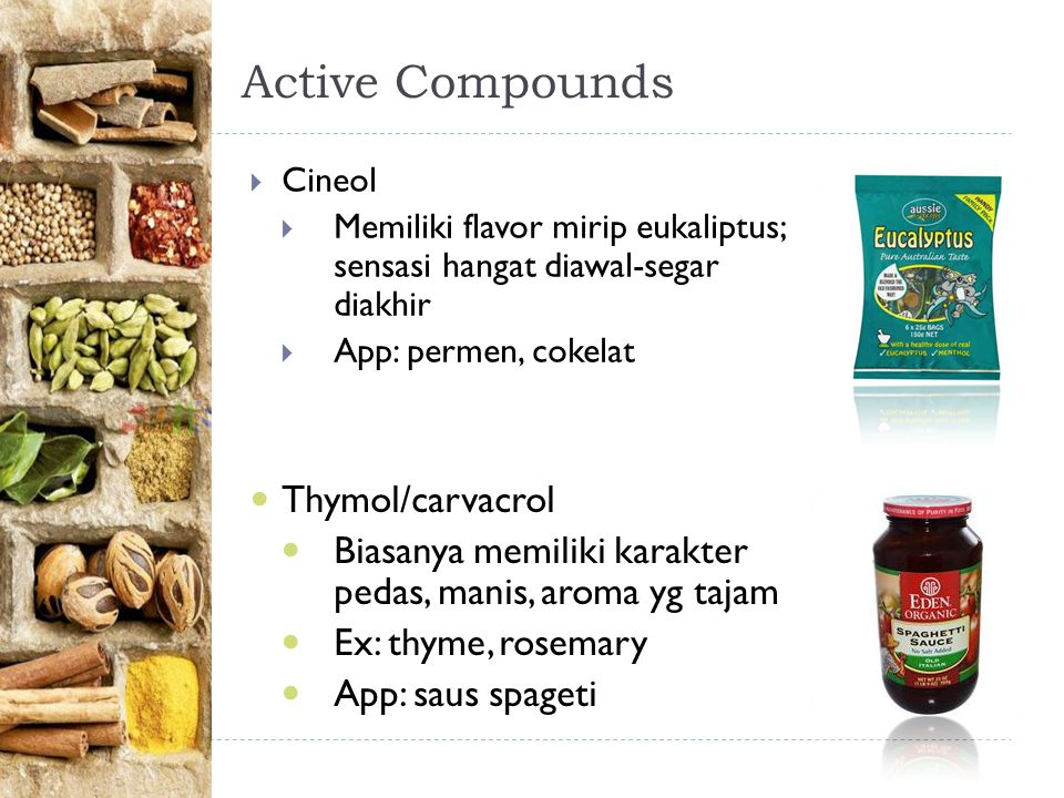 Active Compounds Thymol/carvacrol