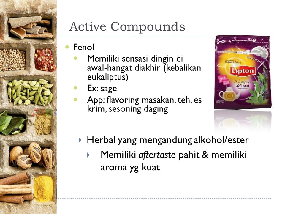 Active Compounds Herbal yang mengandung alkohol/ester