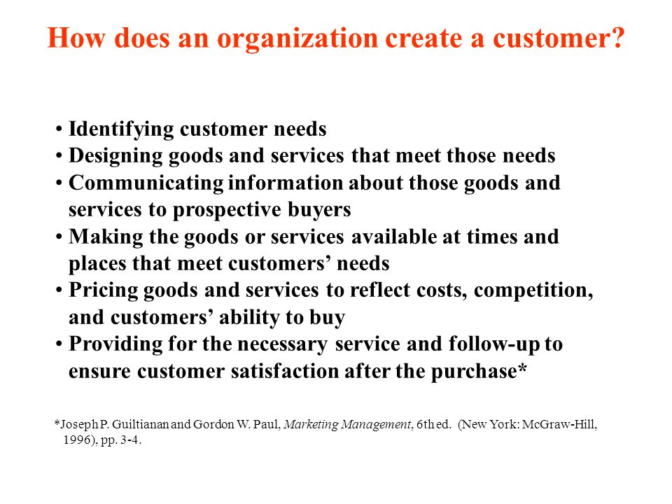 How does an organization create a customer