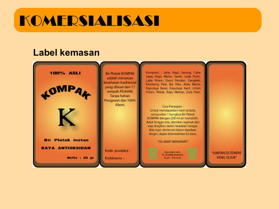 KOMERSIALISASI Label kemasan