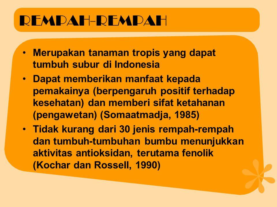 REMPAH-REMPAH Merupakan tanaman tropis yang dapat tumbuh subur di Indonesia.