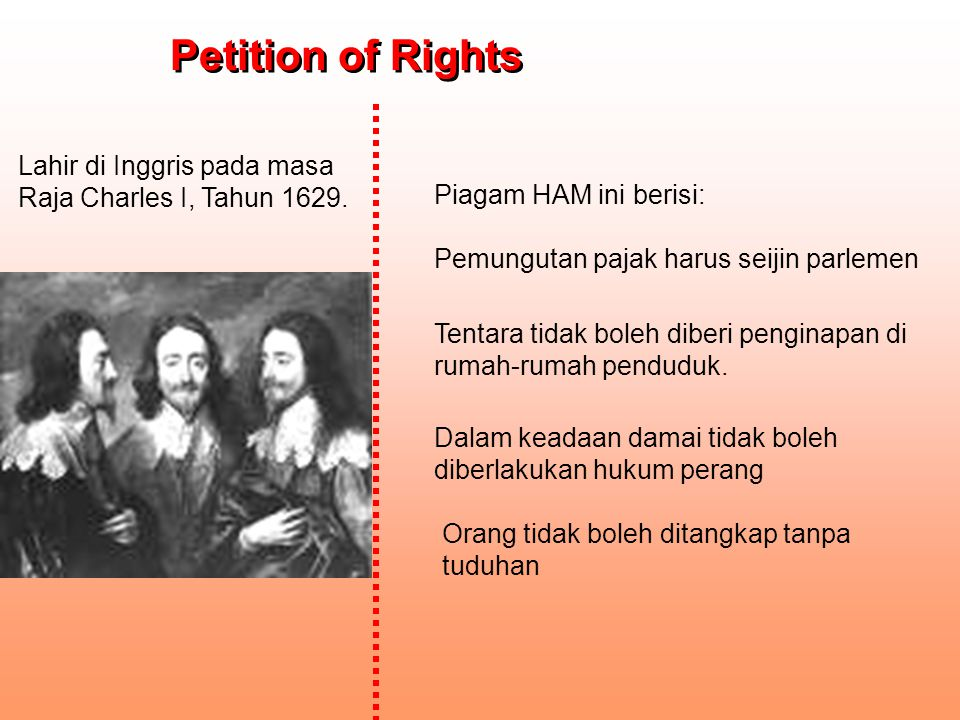 Petition of Rights Lahir di Inggris pada masa Raja Charles I, Tahun 1629. Piagam HAM ini berisi: Pemungutan pajak harus seijin parlemen.