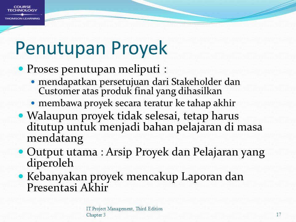 Penutupan Proyek Proses penutupan meliputi :
