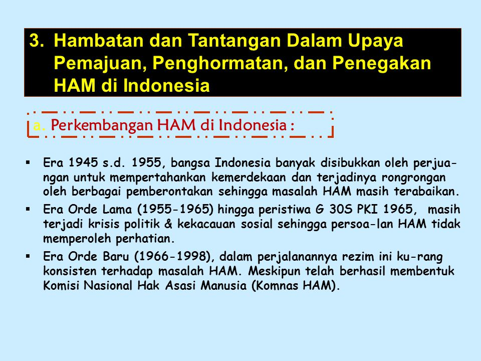 Hambatan dan Tantangan Dalam Upaya Pemajuan, Penghormatan, dan Penegakan HAM di Indonesia
