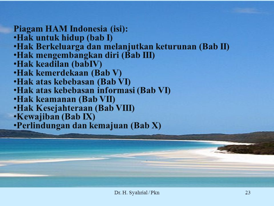 Piagam HAM Indonesia (isi): Hak untuk hidup (bab I)