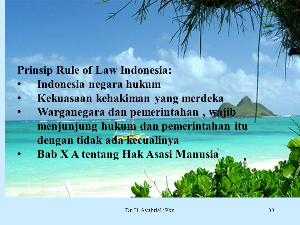 Prinsip Rule of Law Indonesia: Indonesia negara hukum
