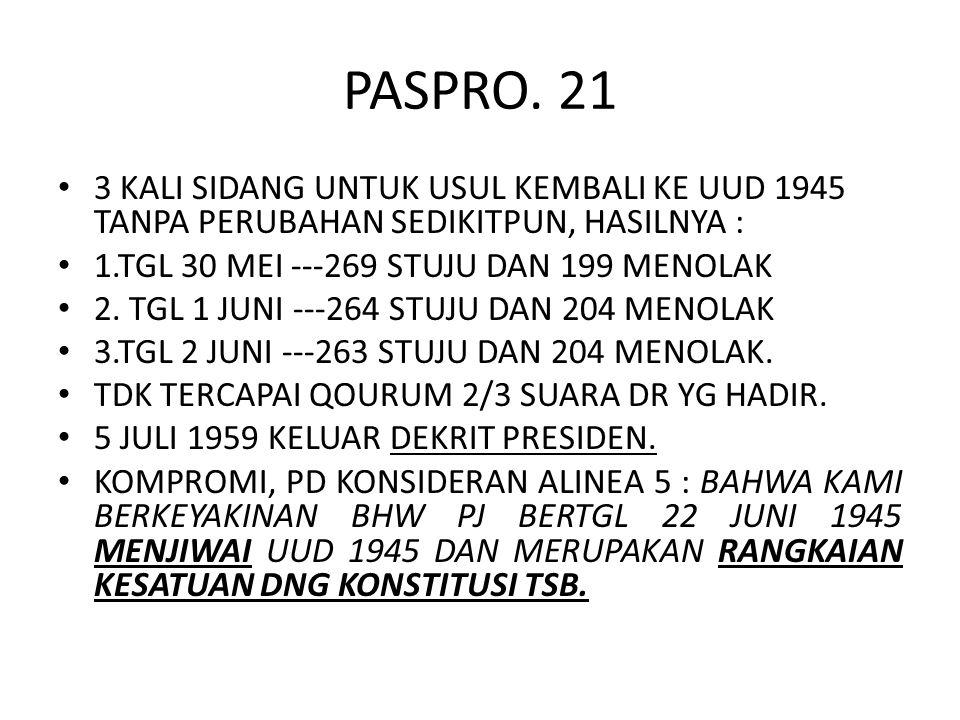 PASPRO. 21 3 KALI SIDANG UNTUK USUL KEMBALI KE UUD 1945 TANPA PERUBAHAN SEDIKITPUN, HASILNYA : 1.TGL 30 MEI ---269 STUJU DAN 199 MENOLAK.