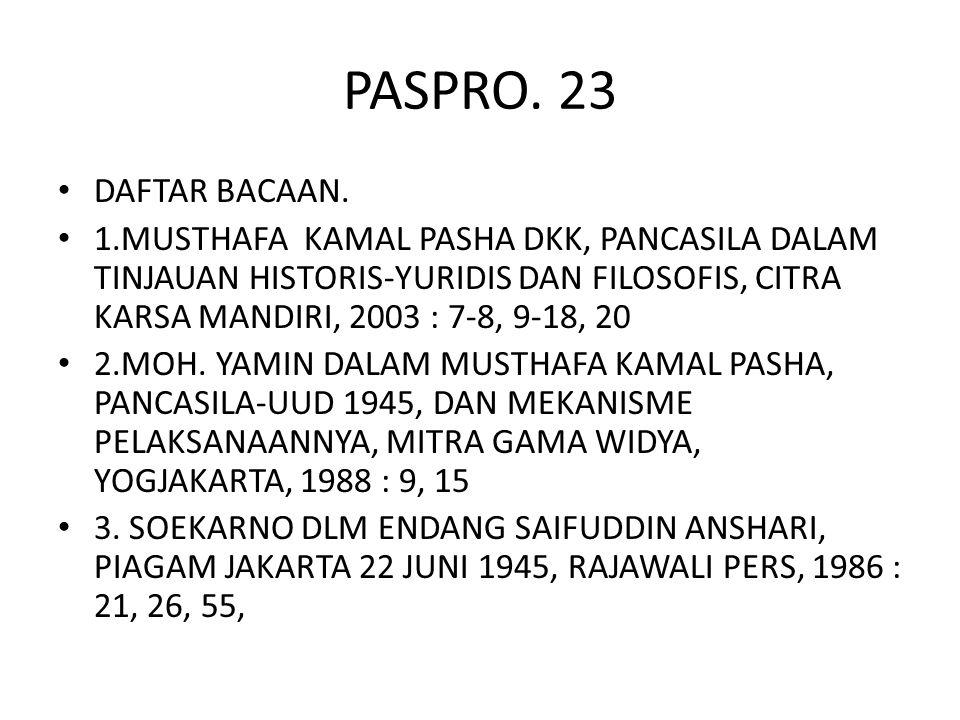 PASPRO. 23 DAFTAR BACAAN.