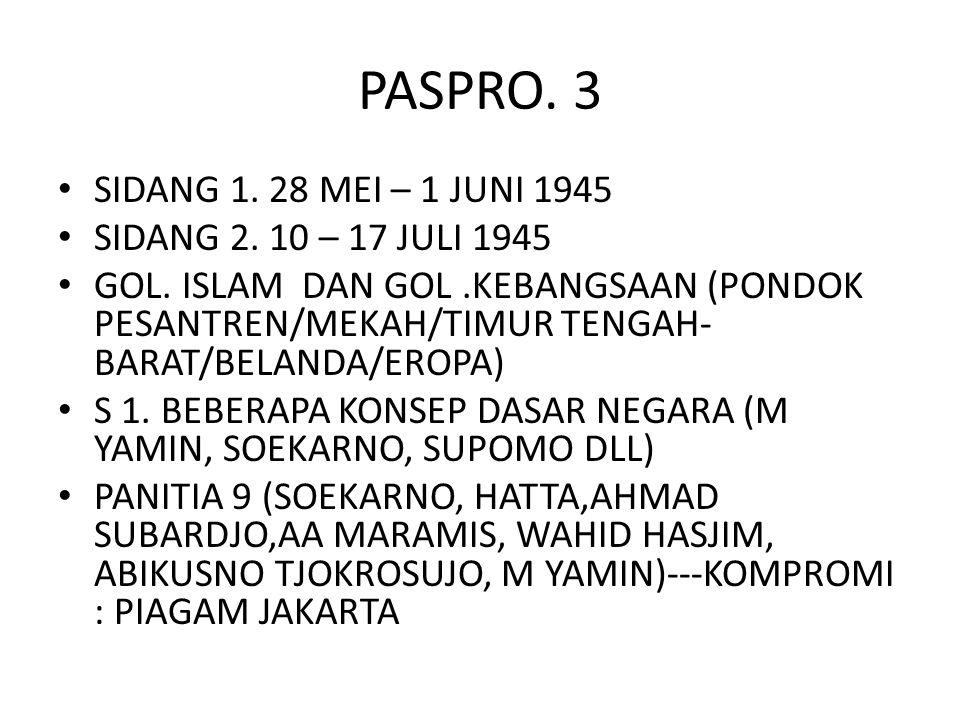 PASPRO. 3 SIDANG 1. 28 MEI – 1 JUNI 1945 SIDANG 2. 10 – 17 JULI 1945