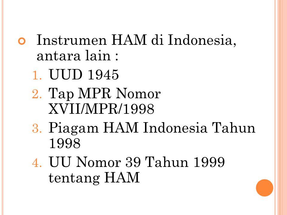 Instrumen HAM di Indonesia, antara lain :