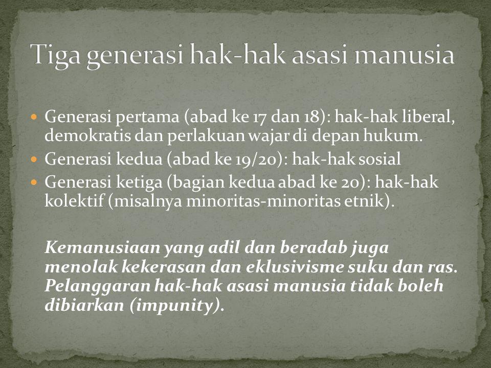 Tiga generasi hak-hak asasi manusia