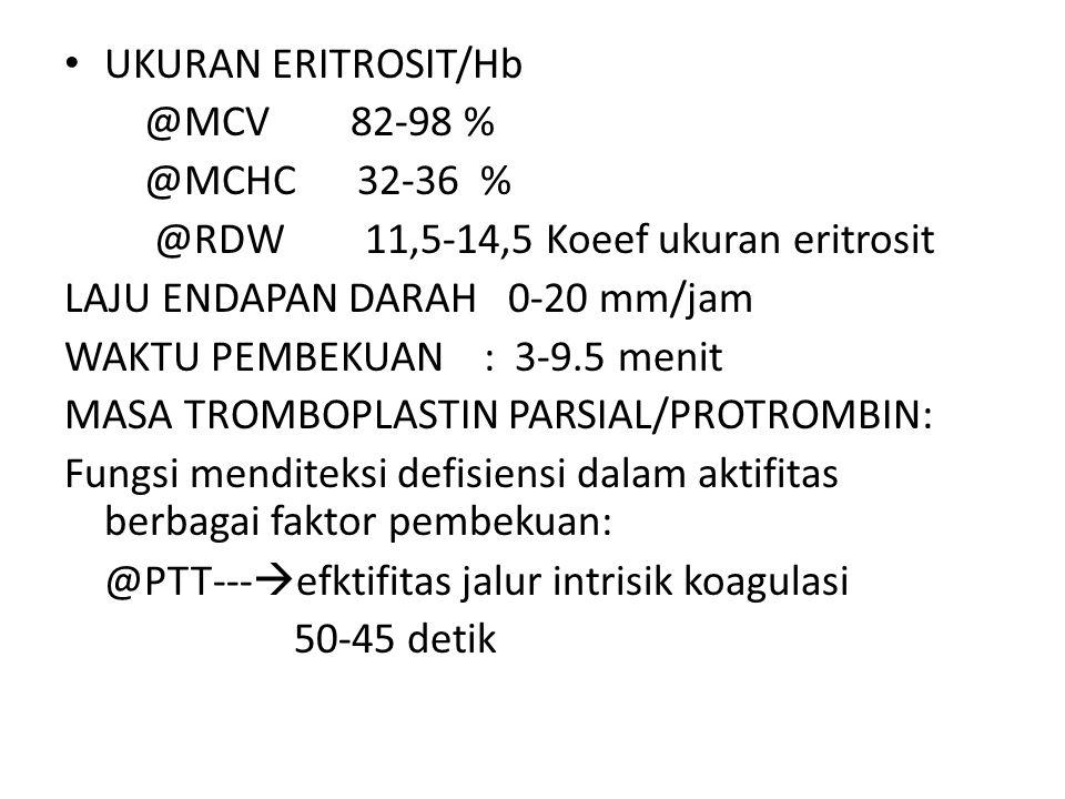 UKURAN ERITROSIT/Hb @MCV 82-98 % @MCHC 32-36 % @RDW 11,5-14,5 Koeef ukuran eritrosit.