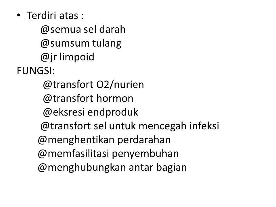 Terdiri atas : @semua sel darah. @sumsum tulang. @jr limpoid. FUNGSI: @transfort O2/nurien. @transfort hormon.