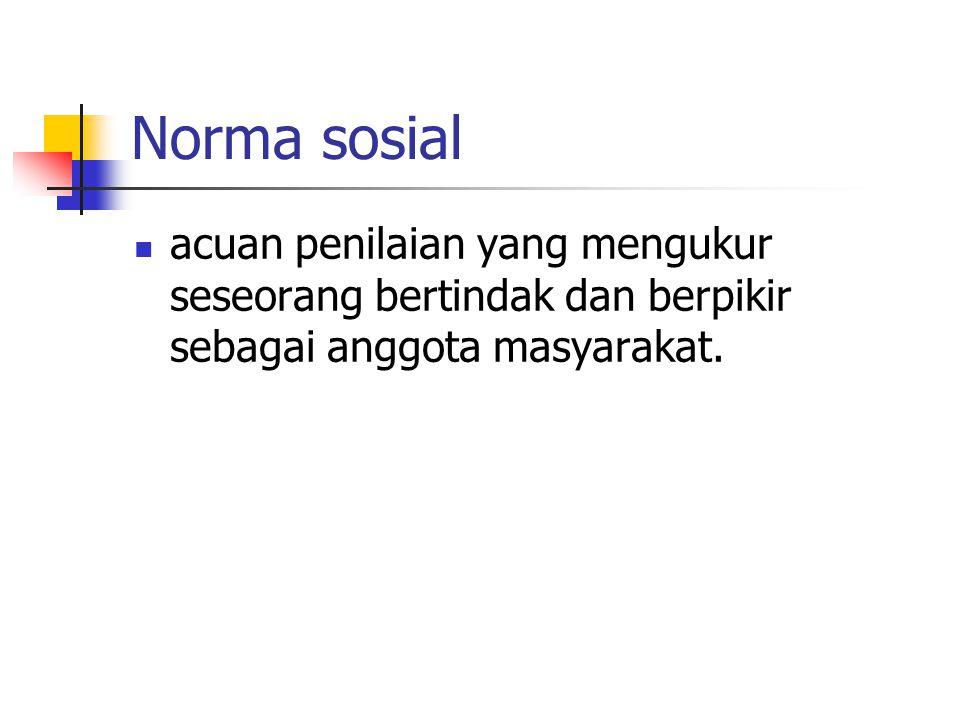 Norma sosial acuan penilaian yang mengukur seseorang bertindak dan berpikir sebagai anggota masyarakat.
