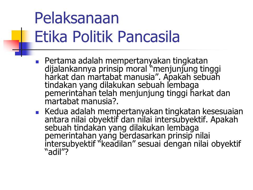 Pelaksanaan Etika Politik Pancasila