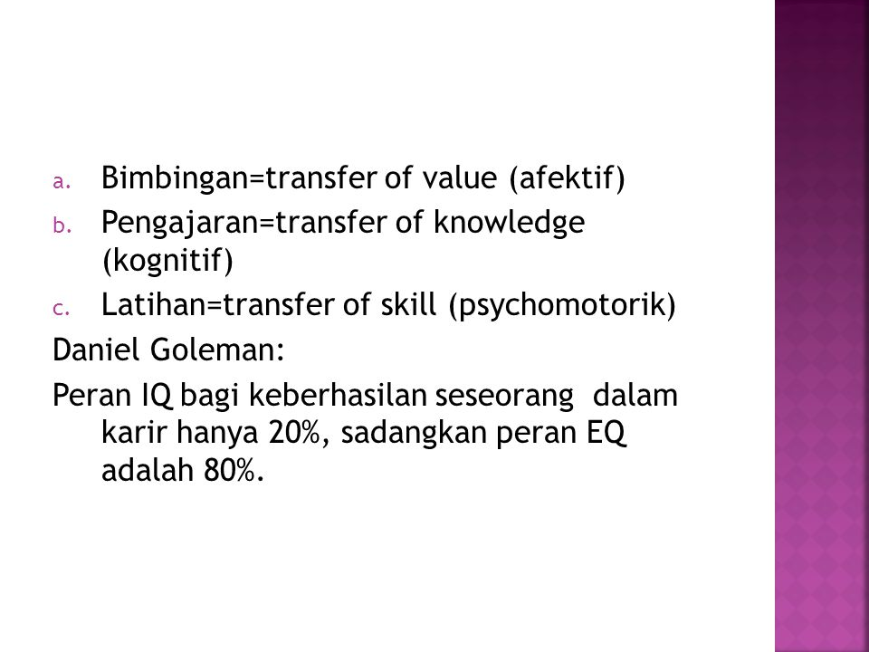 Bimbingan=transfer of value (afektif)