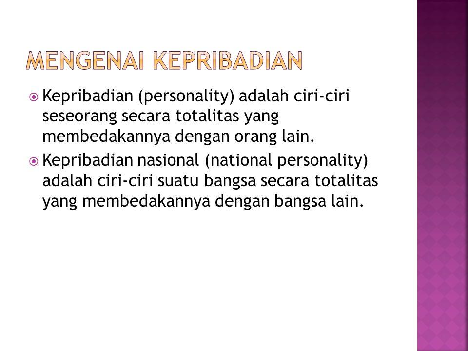 Mengenai Kepribadian Kepribadian (personality) adalah ciri-ciri seseorang secara totalitas yang membedakannya dengan orang lain.
