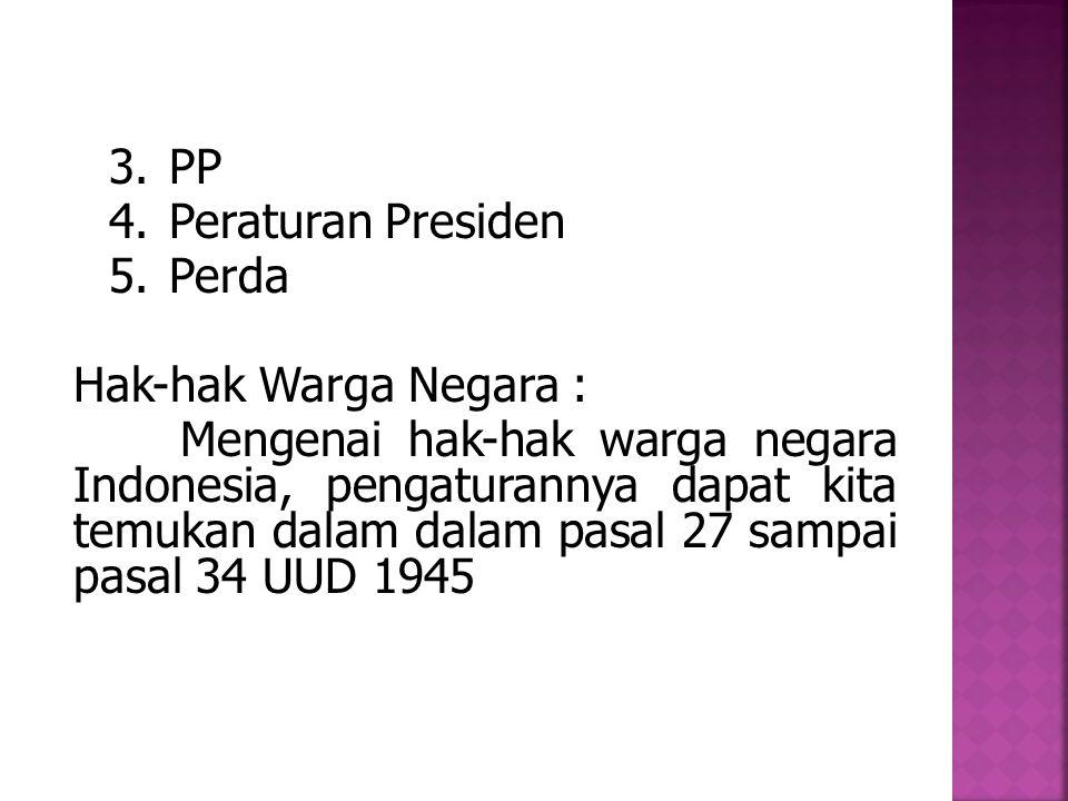 PP Peraturan Presiden. Perda. Hak-hak Warga Negara :