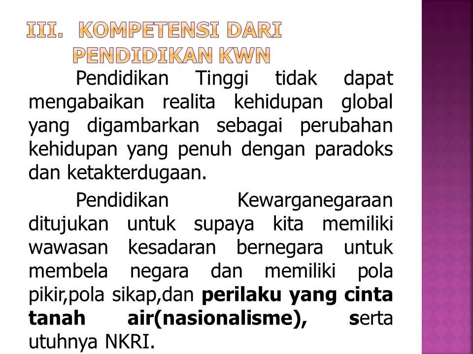 Kompetensi dari Pendidikan KWN