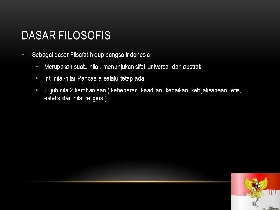 DASAR FILOSOFIS Sebagai dasar Filsafat hidup bangsa indonesia