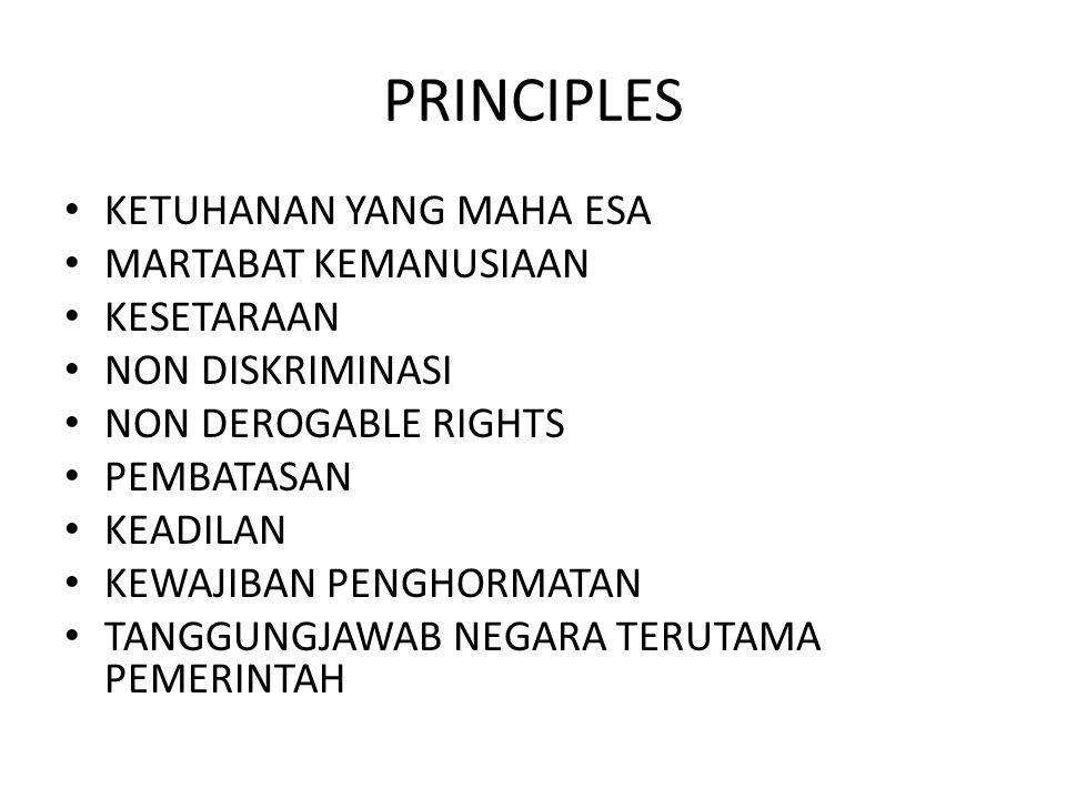 PRINCIPLES KETUHANAN YANG MAHA ESA MARTABAT KEMANUSIAAN KESETARAAN