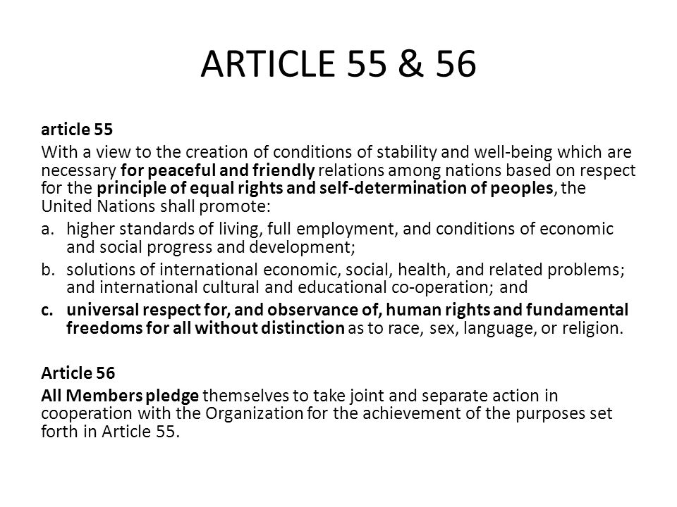 ARTICLE 55 & 56 article 55.