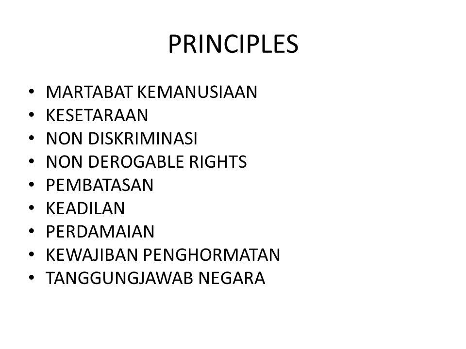 PRINCIPLES MARTABAT KEMANUSIAAN KESETARAAN NON DISKRIMINASI