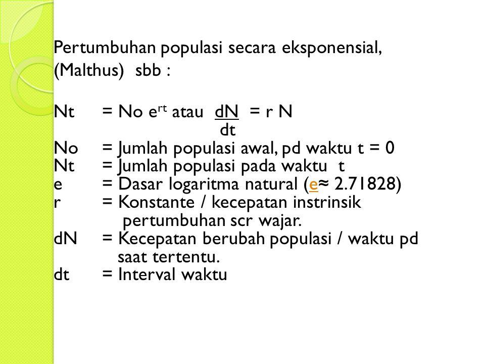 Pertumbuhan populasi secara eksponensial, (Malthus) sbb :