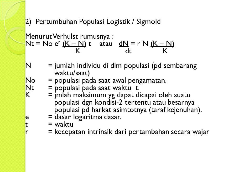 2) Pertumbuhan Populasi Logistik / Sigmold