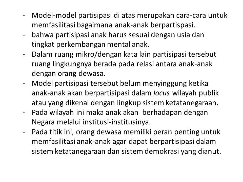 Model-model partisipasi di atas merupakan cara-cara untuk memfasilitasi bagaimana anak-anak berpartispasi.