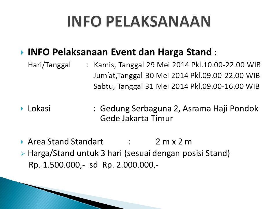 INFO PELAKSANAAN INFO Pelaksanaan Event dan Harga Stand :